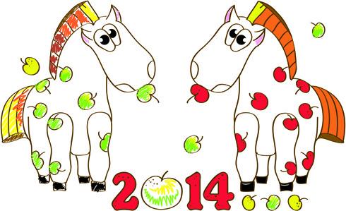 horses14 christmas vector