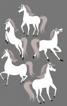 horses painting classical design white icons