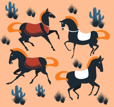 horses painting dark classical design