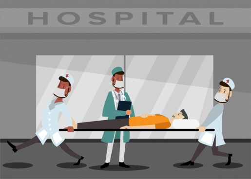 hospital background emergency patient doctor icons colored cartoon