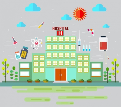 hospital banner building clinic design elements