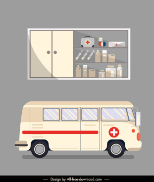 hospital design elements ambulance medicine shelf sketch