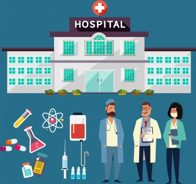 hospital design elements building doctors tools icons