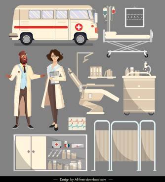 hospital design elements doctor ambulance medical device sketch