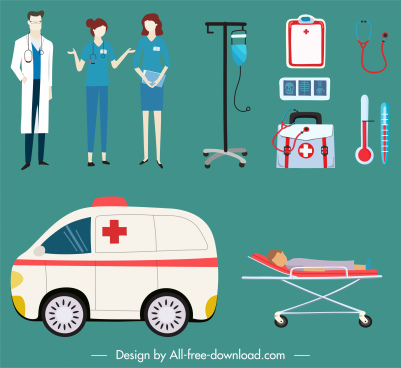 hospital design elements doctor nurse ambulance equipment sketch