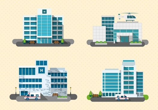 hospital design models with various types illustration