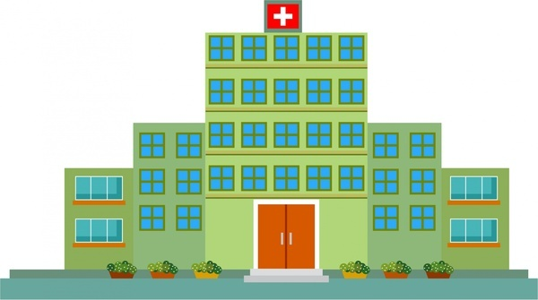hospital design sketch in green color