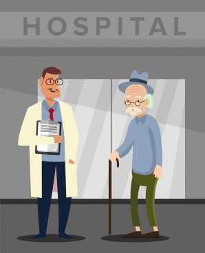 hospital drawing doctor old patient icons colored cartoon
