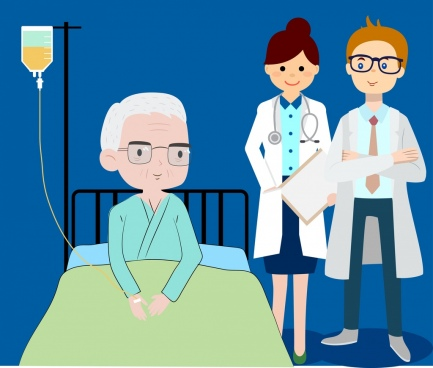 hospital drawing doctors old patient icons colored cartoon