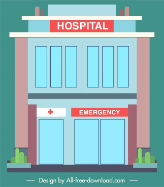 hospital facade architecture colored flat sketch