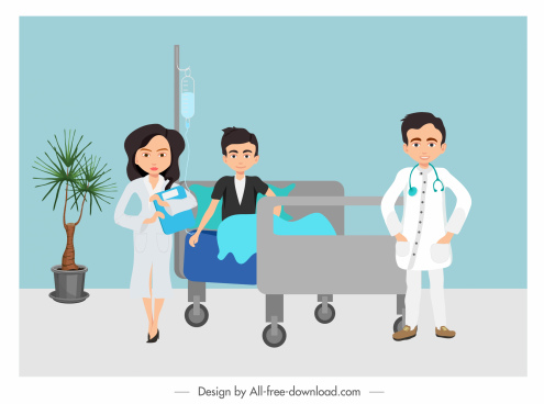 hospital painting colored cartoon design