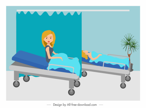 hospital painting patients sketch cartoon design