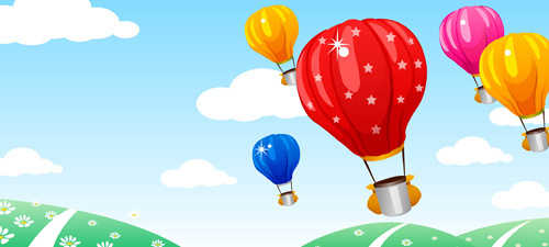 hot air balloon and beautiful views vector