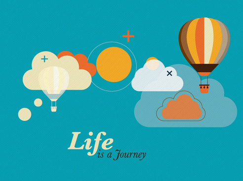 hot air balloon and clouds creative vector