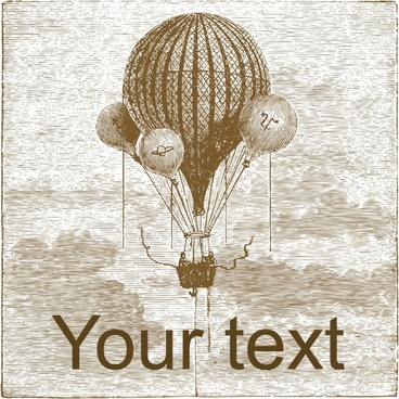 hot air balloon background retro design
