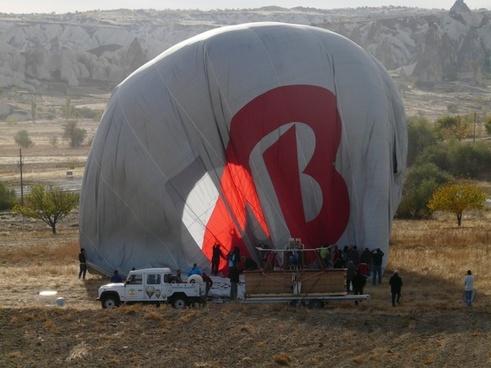 hot air balloon ride landing folding