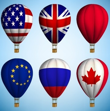 hot air balloon with national flag vector