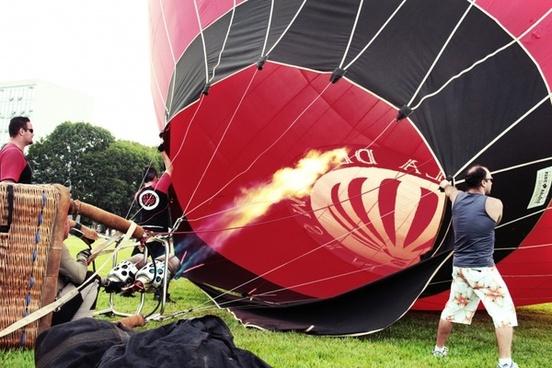 hot air ballooning flight sky
