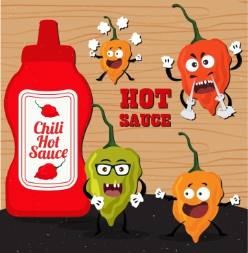 hot chili sauce advertisement funny stylized icons