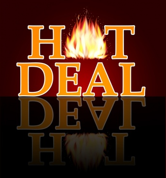 hot deal banner fire texts reflection decoration