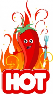 hot food advertising stylized red chilli flame icons