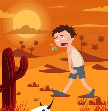 hot weather background tired boy desert icons decor