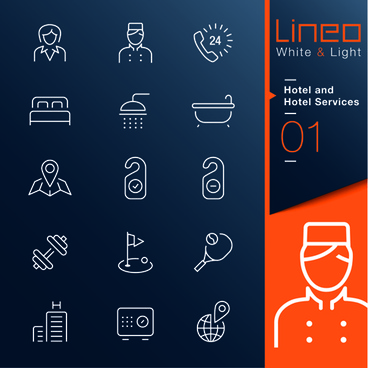 hotel and hotel services outline icons vector