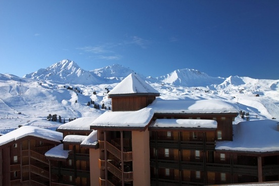 hotel with mountains in winter