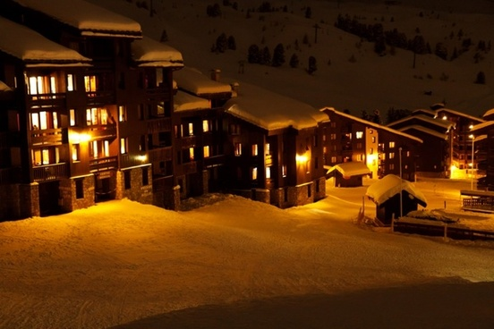 hotels at night in winter