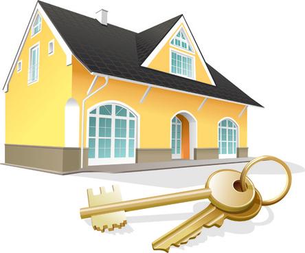 house and keys vector design