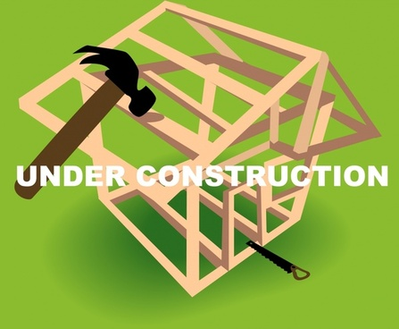 under construction banner hammer house frame 3d decor