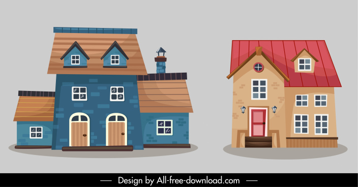 house architecture icons colorful classic sketch