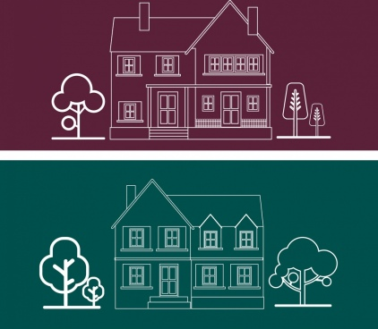 house architecture icons outline silhouette flat design