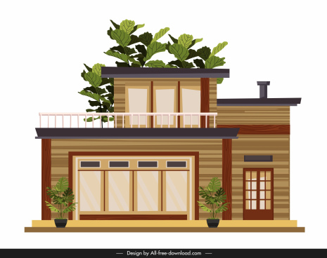 house architecture template modern design facade sketch