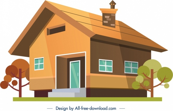 house building icon colored 3d sketch