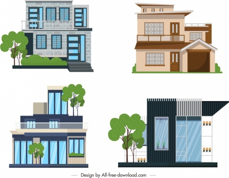 house building icons colored modern design