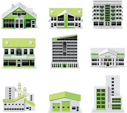 building architectural icons modern 3d colored sketch