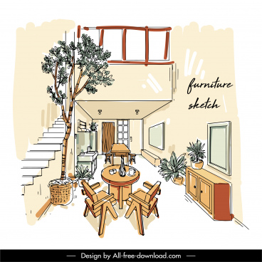 house decor template handdrawn sketch contemporary design