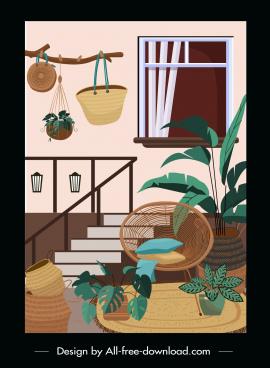 house decorative template retro design