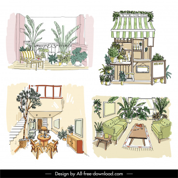 house decorative templates colored handdrawn sketch