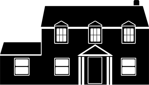 house design sketch illustration with silhouette style