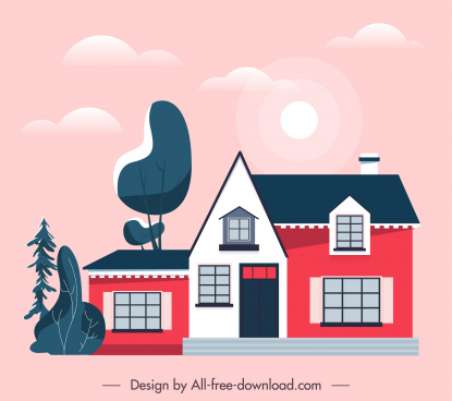 house exterior painting flat classical sketch