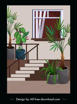 house exterior painting flowerpots staircase decor classic design
