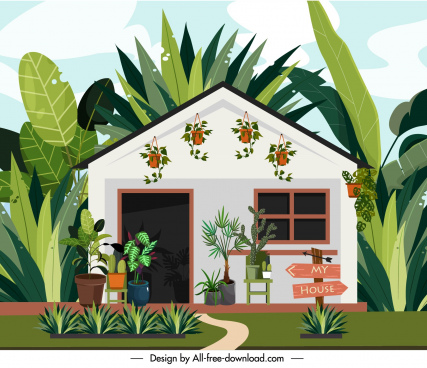 house facade template colorful classic colored cartoon sketch