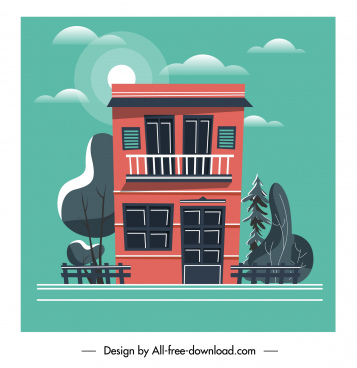 house facade template colorful classic flat sketch