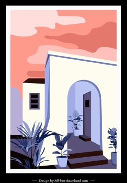 house facade template colorful retro design