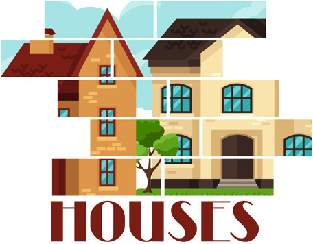house flat style vector background