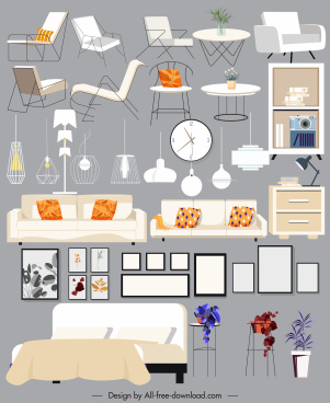 house furnitures icons contemporary design