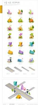 urban infrastructure icons 3d house traffic design elements