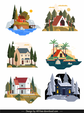 house icons colorful classic design